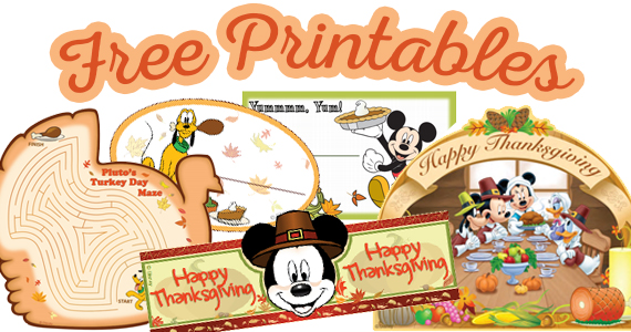 Disney Thanksgiving Printables