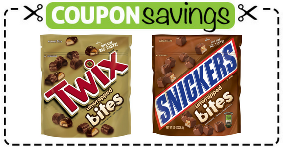 Save $1.50 off any 2 SNICKERS and TWIX Bites