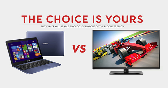 Win an Asus Laptop or JVC HDTV