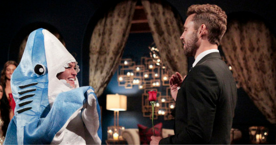 """I'm a dolphin"" Bachelor Contestant In Shark Costume!"