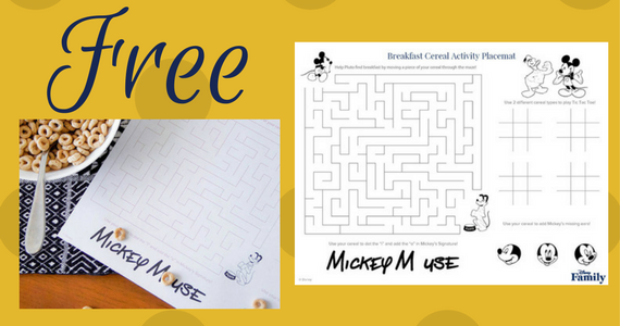 Free Mickey Mouse Mealtime Activity Placemat
