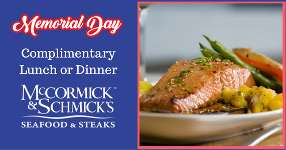 Free Lunch or Dinner From Mccormick and Schmick's