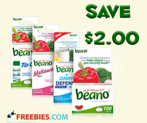 Save $2 on Beano Products