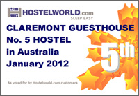 Hostels World Award - **VOTED No 1 HOSTEL IN AUSTRALIA FOR DECEMBER 2009**