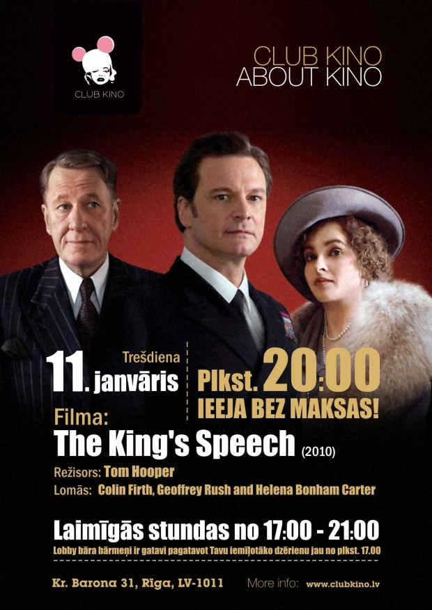 the King`s speech club kino (Karaļa runa)