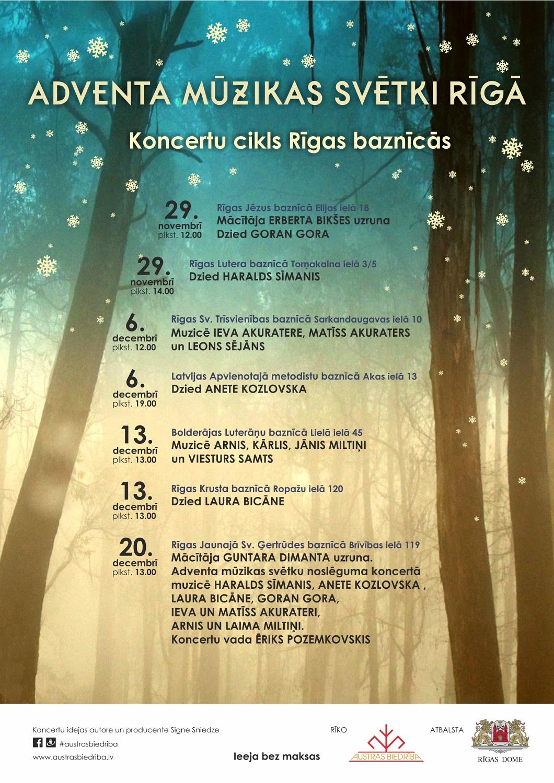 Adventa mūzikas svētki Rīgā. Noslēguma koncerta plakāts.