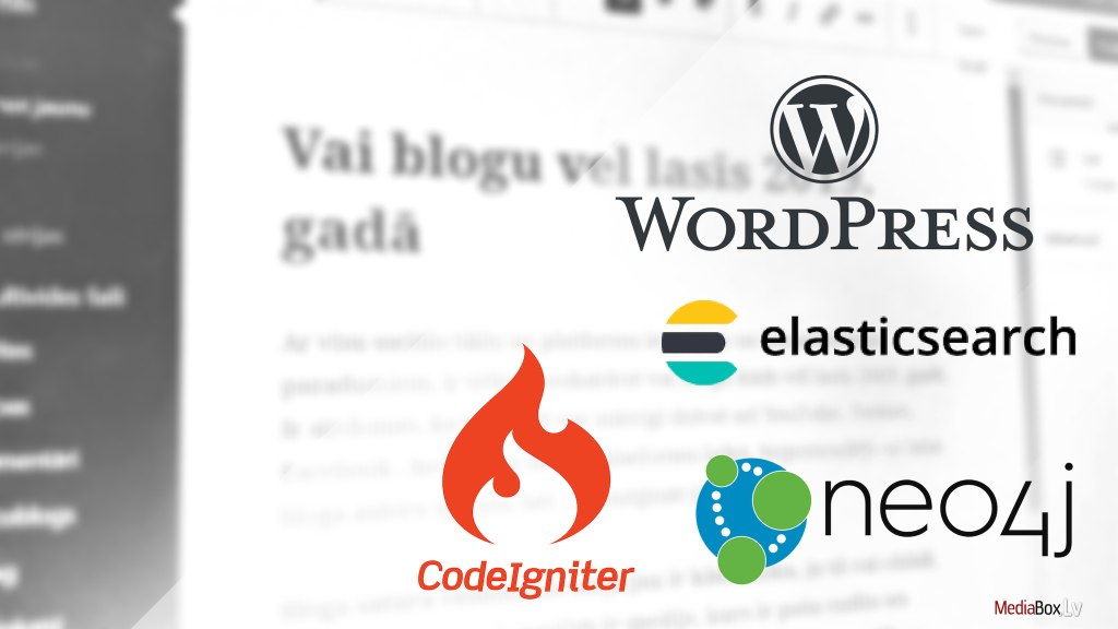web izstrade: WordPress, Neo4j, Codeigniter, Elasticsearch