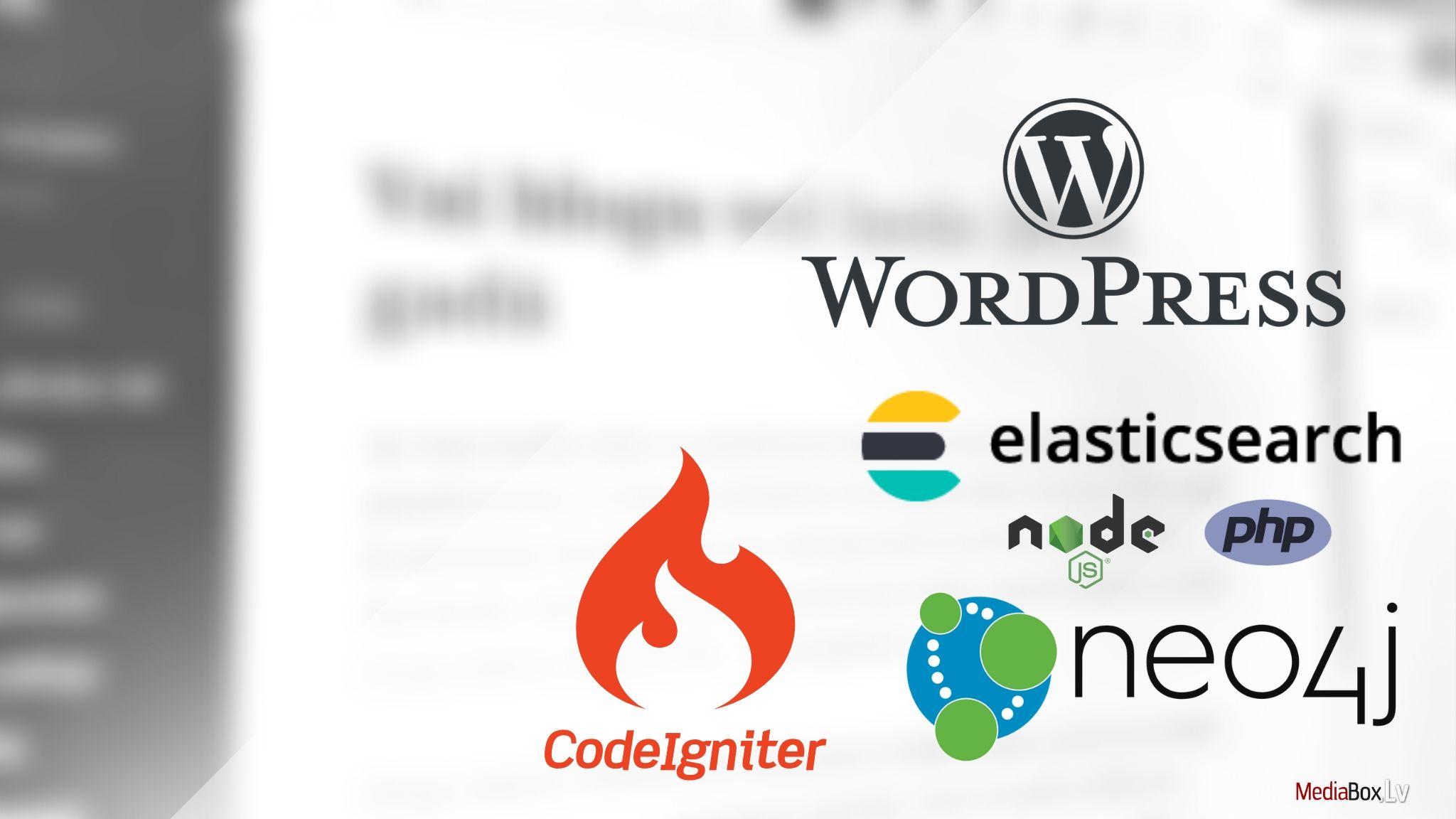 web izstrade: PHP, Node.js, WordPress, Neo4j, Codeigniter, Elasticsearch