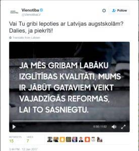 Partija VIENOTĪBA nelepojas ar Latvijas augstskolām