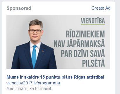 Vienotība2017.lv Facebook reklāma 2017-06-01 16:19 (Dānijas laiks)
