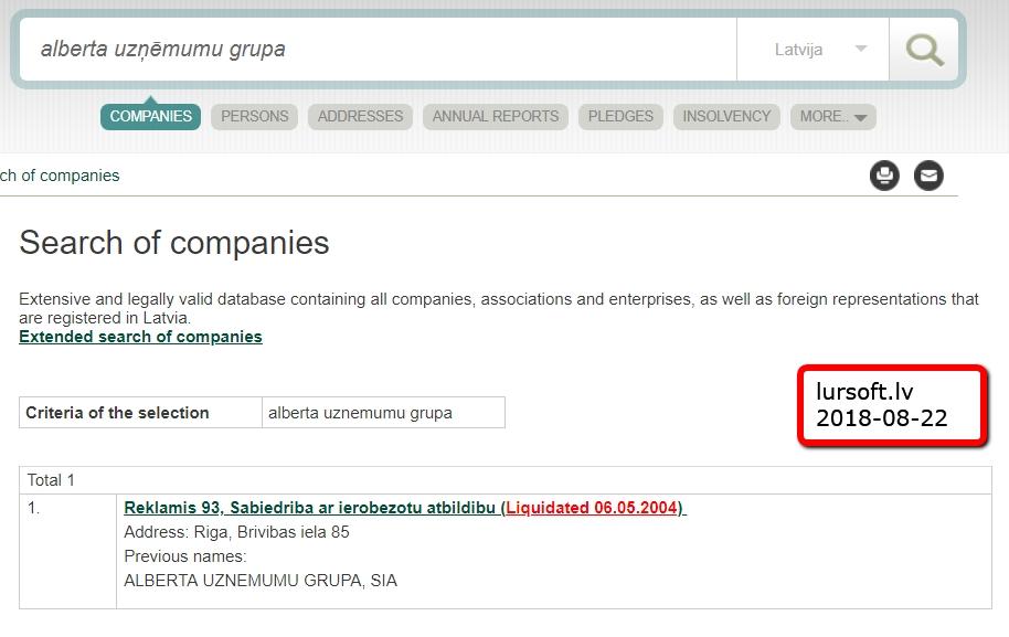 Likvidētais SIA Alberta Uzņēmumu grupa (uz 2018-08-22 12:04 lursoft.lv)