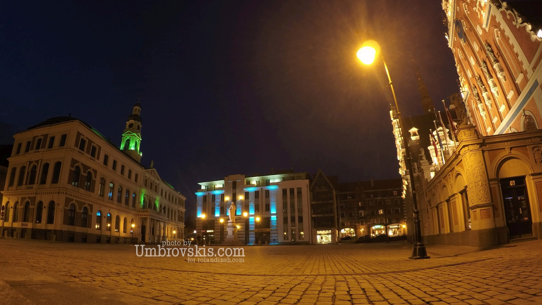 Riga's Town Hall Square at night