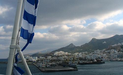 Grieķijas sala un karoga fragmets