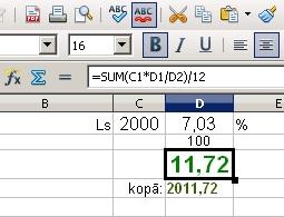 Noguldījuma procentu aprēķins mēnesim