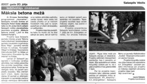 Salaspils avīzē pateicība par labu darbu (2007)