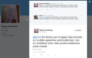 Sanita Jemberga: par Jauno vilni, Pļavniekiem un treniņbiksēm.