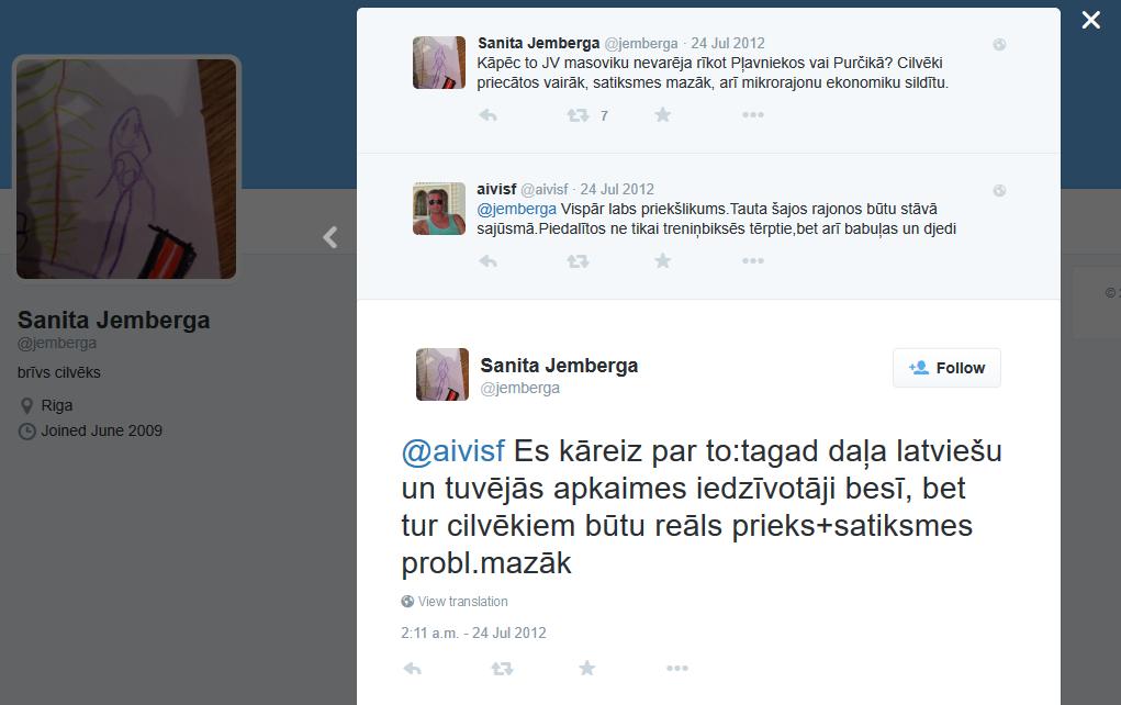 Sanita Jemberga. twitter izteikumi par Jauno vilni, krieviem un Pļavniekiem
