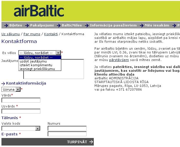 airBaltic contactform