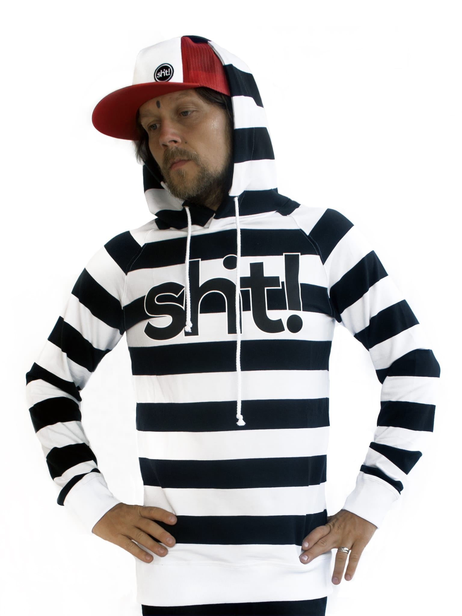 Black and white striped Hoodie - in 4 life collection