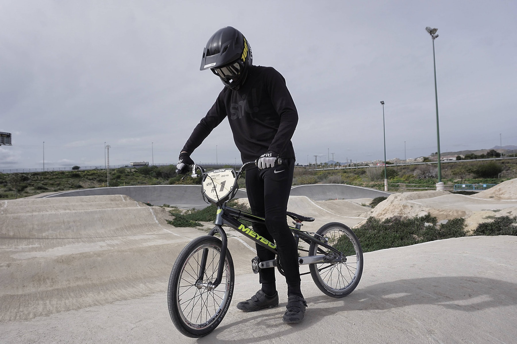 Oskar Kindblom bmx racing pose in Spain
