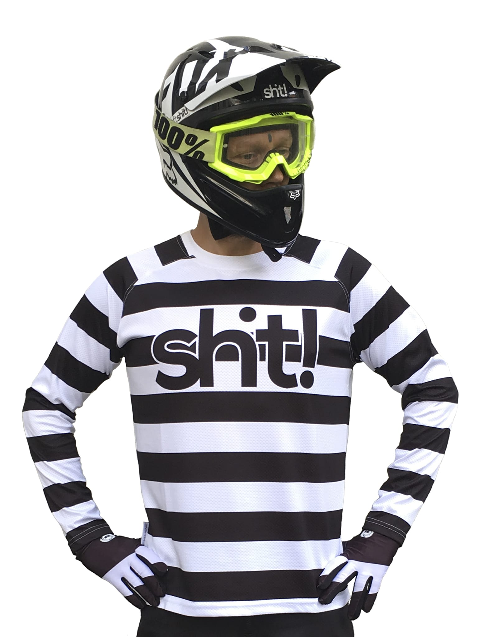 Black and white striped Mx Jersey - In 4 life collection