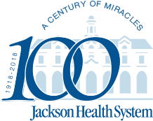 Jackson 100 years logo. Goes to Homepage.