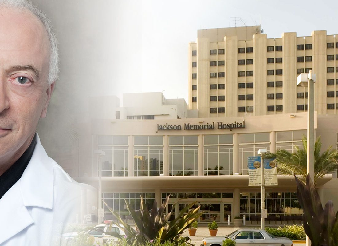 Medical professional and image of Jackson Memorial Hospital