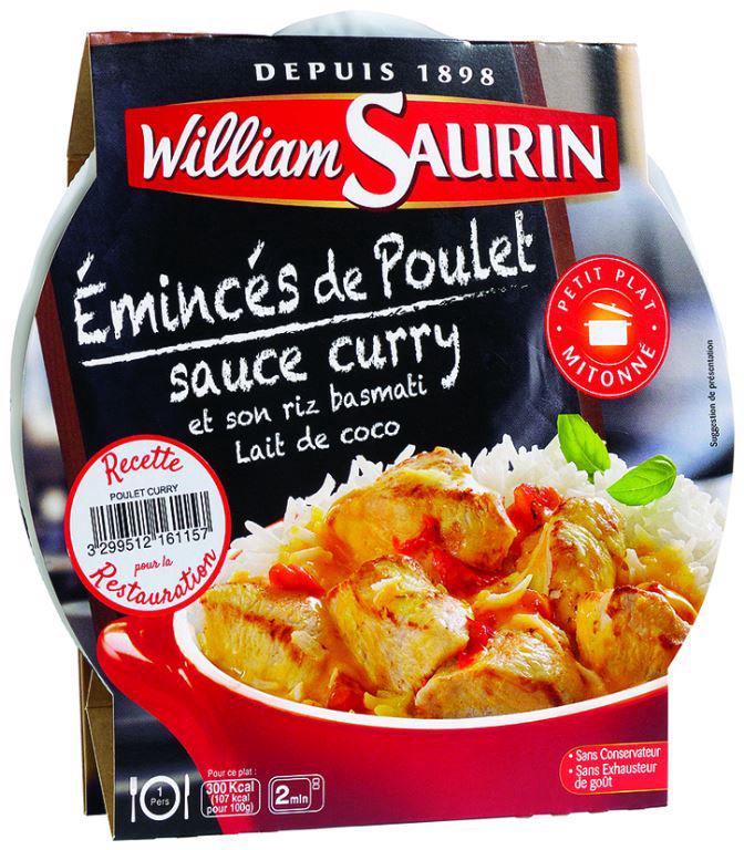 Émincés de poulet sauce curry et riz basmati - WILLIAM SAURIN - Carton de 8 barquettes
