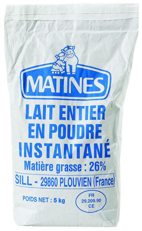 Lait entier en poudre 26%mg - SILL MATINES - Sac de 5kg