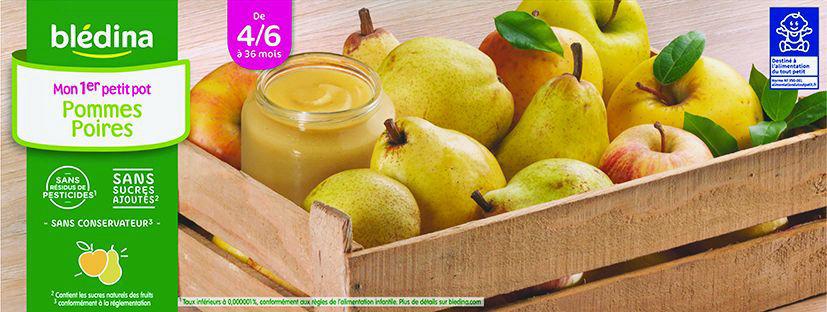 Purée de pommes et de poires dès 4 mois - BLEDINA - Carton de 24 pots