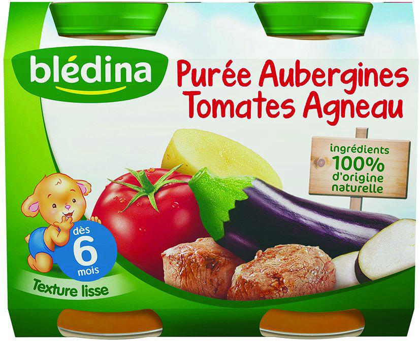 Pot purée d'aubergines, tomates et agneau dès 6 mois - BLEDINA - Carton de 12 pots
