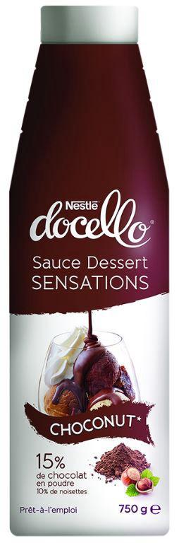 Sauce dessert saveur chocolat noisette - NESTLE DOCELLO - Bouteille de 750 g