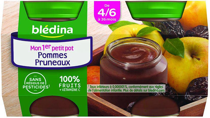 Purée de pommes et pruneaux dès 4 mois - BLEDINA - Carton de 24 pots