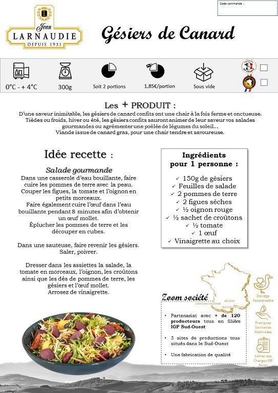 Gésiers de canard confits émincés - LARNAUDIE - Boite 4/4