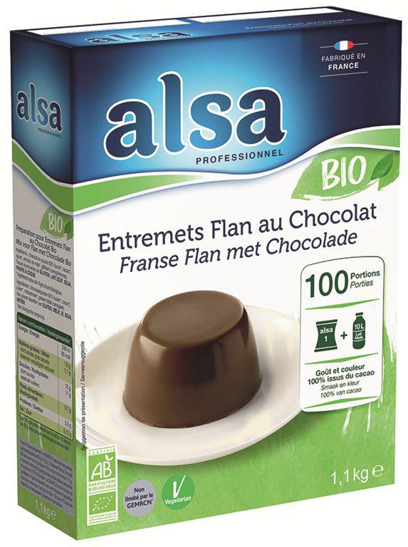 Entremets flan saveur chocolat Bio - ALSA - Boite de 1,1 kg