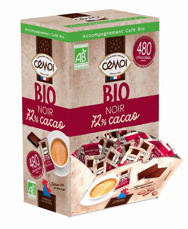 Napolitain chocolat noir 72% Bio - CEMOI - Boite de 1,2 kg