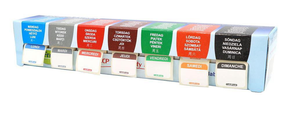 Kit étiquettes de traçabilité alimentaire 7 jours 30x25mm - LABELFRESH - A l'unité