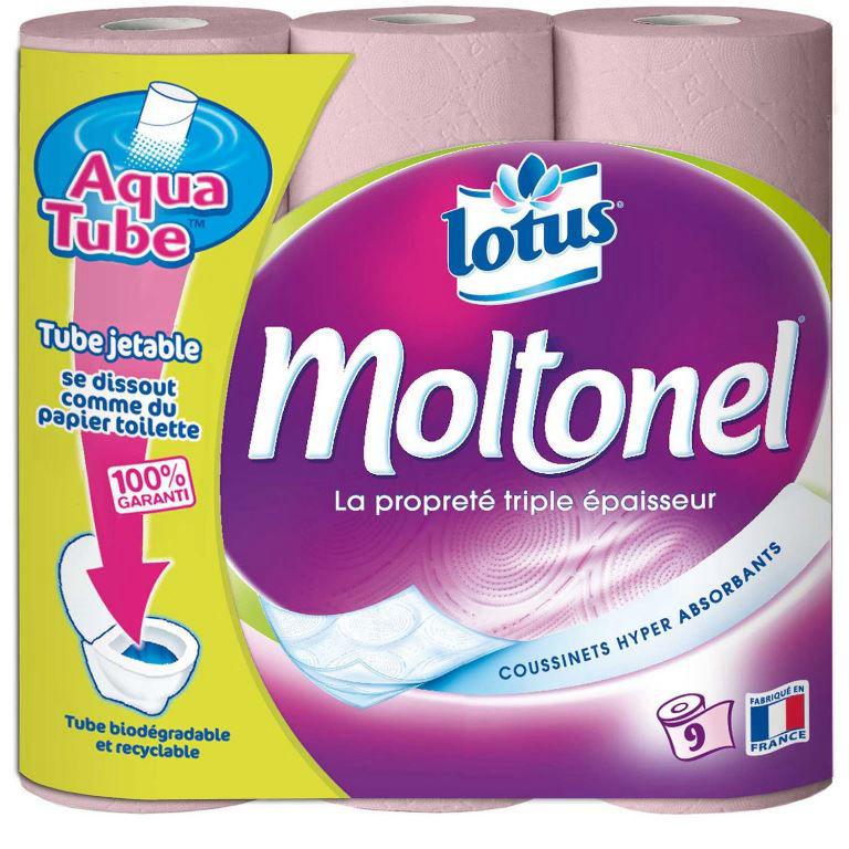 Rouleau papier toilette 3 plis rose Moltonel - Carton de 9
