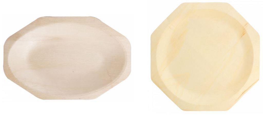 Assiettes bois octogonales