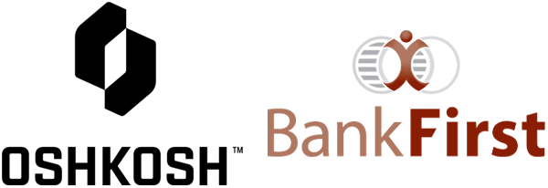 Oshkosh Corporation and Bank First logos