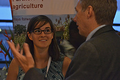 Learning and networking at the CGIAR Booth in Accra, Ghana