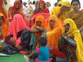 Local women attending the farmers' field day organized by ICRISAT in Badua village.