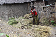Sitali Mulonda works outside her home in the Barotse Floodplain, Zambia. Photo by Nixon Chisonga.