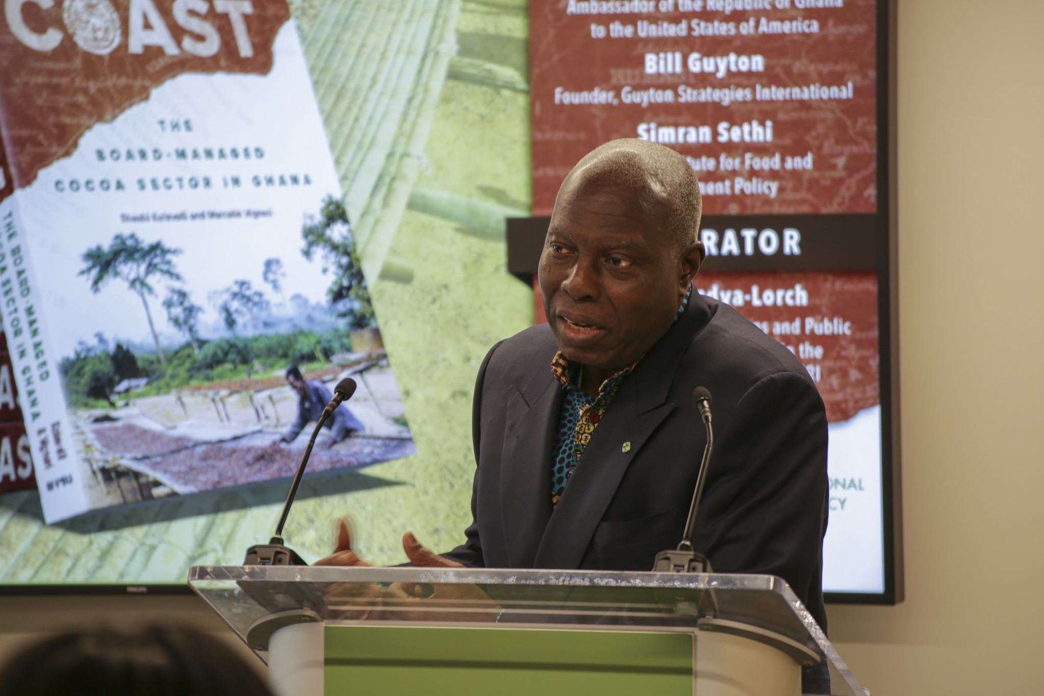 Barfuor Adjei-Barwuah, Ghana's ambassador to the United States, speaks on the state of the cocoa industry. Ghana cocoa farmers are at the mercy of a global marketplace that keeps producer prices low, he said, while manufacturers reap most of the profits. Photo by Jessica Thomas/IFPRI