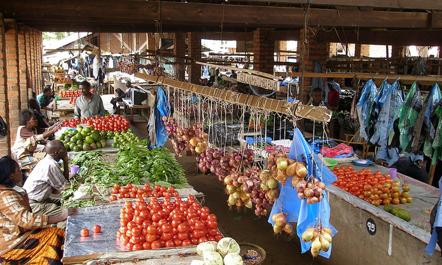 Produce sale at local market in Malawi.