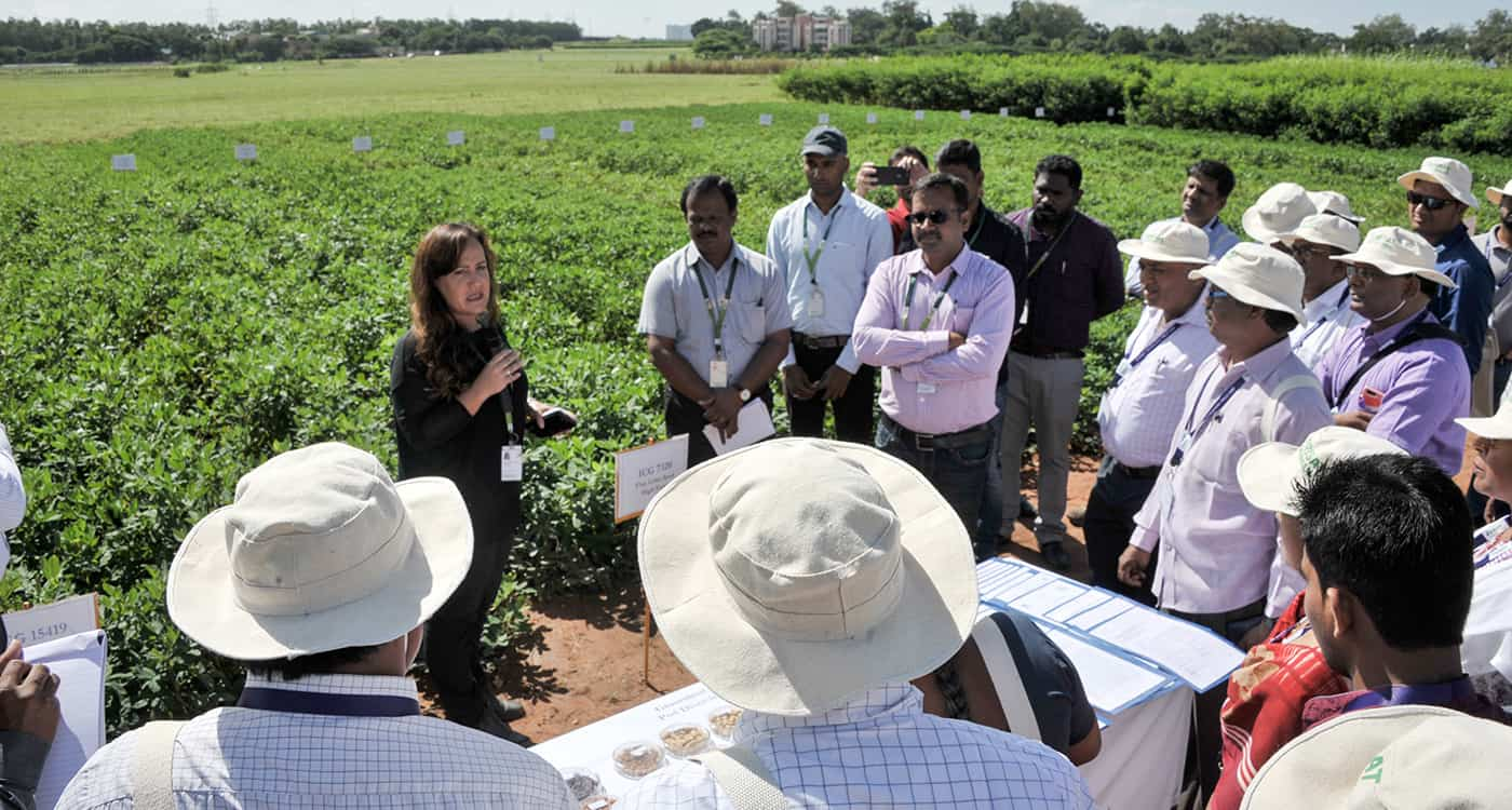 Dr Vania Azevedo, Head, Genebank, explains material conserved at ICRISAT during field day. Photo: PS Rao, ICRISAT