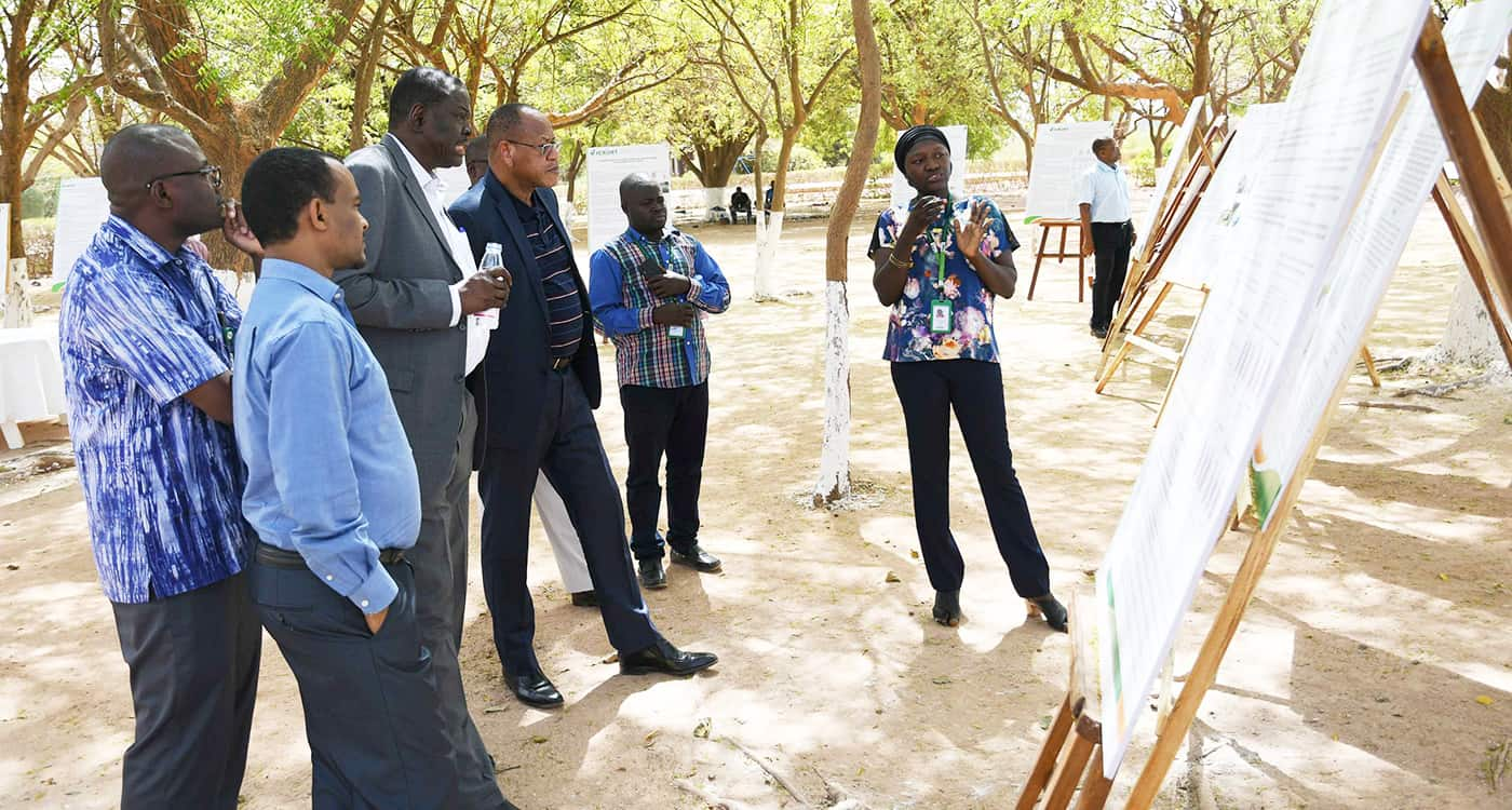 Dr Paco Sereme, Chair of the ICRISAT Governing Board and Dr Ramadjita Tabo, Research Program Director, WCA watching a poster presentation by phd student Ms Madina Diancoumba along with other scientists. Photo: N Diakite, ICRISAT