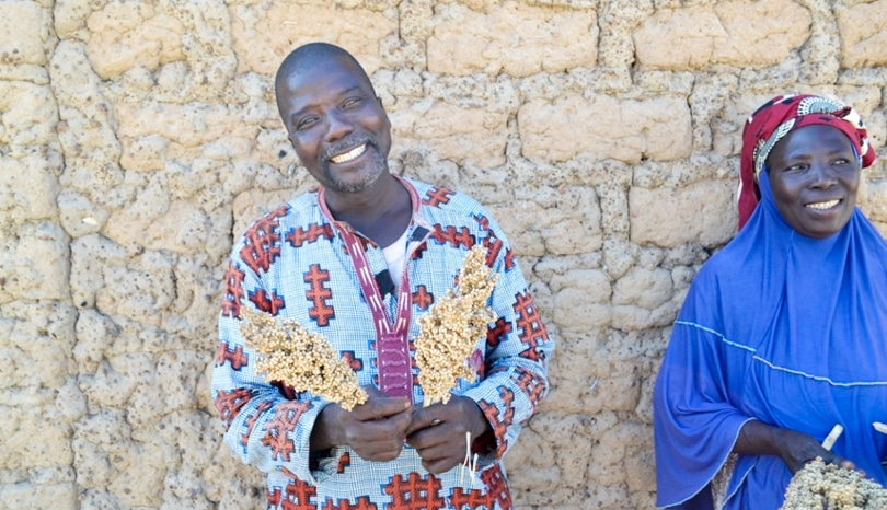 Photo: Mr Fousseyni Mariko, seed producer, President of the Cooperative Djiguifa in Solabougouda with his wife, Mrs Diala Sangare, in Sikasso region, Mali. (ICRISAT)