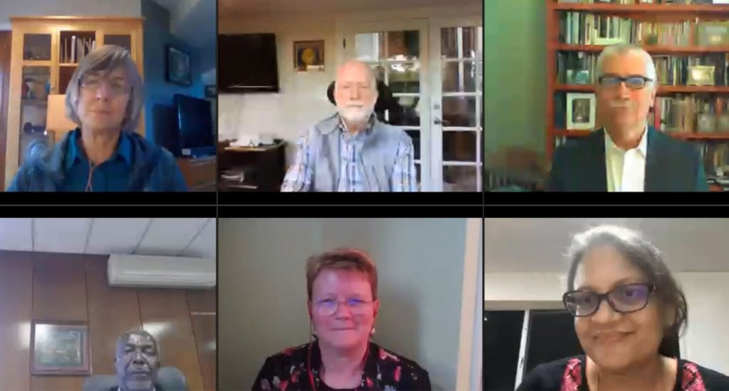 A screenshot from the first webinar. From top left to bottom right: Dr Lafitte, Dr Gutterson, Dr Bertram, Dr Mashingaidze, Dr Hughes and Dr Pooja Bhatnagar, Theme Leader – Cell, Molecular Biology & Genetic Engineering at ICRISAT. Photo: ICRISAT