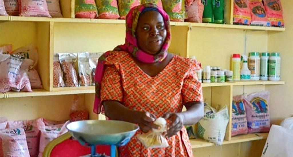 Ms Zuwena Hamisi Chipangula runs the Tunduru Agro-Dealer shop in Tanzania. Photo: Ndichu (TLIII Project)